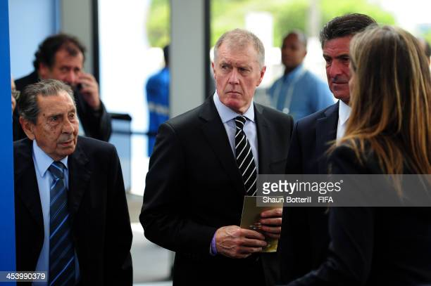 Draw assistants Alcides Ghiggia Sir Geoff Hurst and Mario Kempes arrive for the Final Draw for the 2014 FIFA World Cup Brazil at Costa do Sauipe...