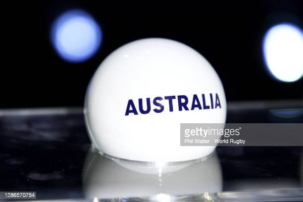 Draw ball on display during the Rugby World Cup 2021 Draw event at the SKYCITY Theatre on November 20, 2020 in Auckland, New Zealand.