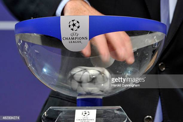 Draw balls are shuffled during the UEFA 2014/15 Champions League third qualifying rounds draw at the UEFA headquarters, The House of European...