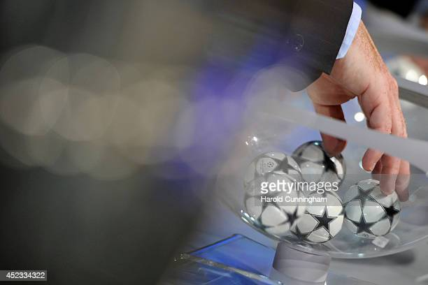 Draw balls are shuffled during the UEFA 2014/15 Champions League third qualifying rounds draw rehersal at the UEFA headquarters The House of European...