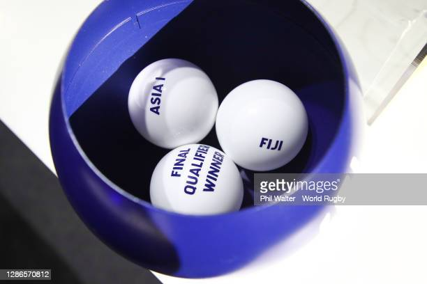Draw balls lie in a bowl after the Rugby World Cup 2021 Draw event at the SKYCITY Theatre on November 20, 2020 in Auckland, New Zealand.