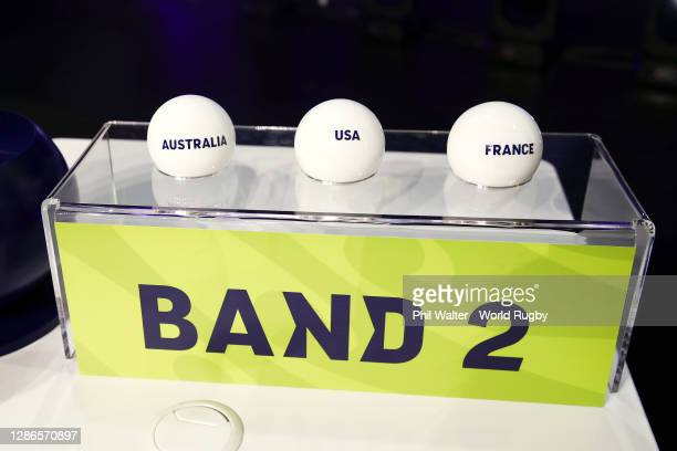 Draw balls on display after the Rugby World Cup 2021 Draw event at the SKYCITY Theatre on November 20, 2020 in Auckland, New Zealand.