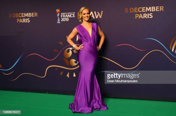 Draw moderator Amanda Davies arrive on the green carpet at the FIFA Women's World Cup France 2019 Draw at La Seine Musicale on December 8 2018 in...