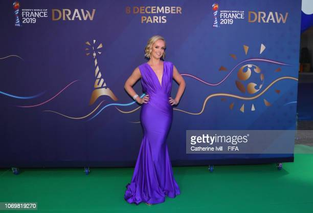 Draw moderator Amanda Davies arrives at the FIFA Women's World Cup France 2019 Draw at La Seine Musicale on December 8 2018 in Paris France