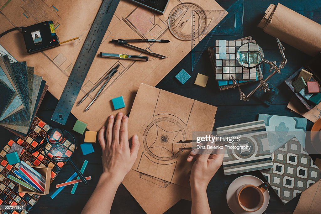 Draw your home: architect's workplace : Stock Photo
