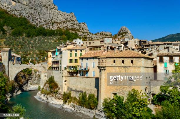 Drawbridge and Porte Royale of the medieval village of Entrevaux, Department of Alpes-de-Haute-Provence, French Riviera, France