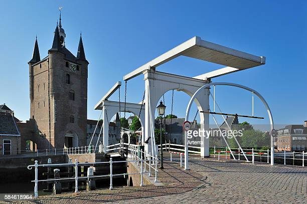 Drawbridge and the Zuidhavenpoort at the old harbour in Zierikzee Zealand the Netherlands