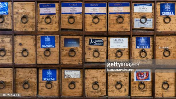 drawer block for labels for wine bottles. mosel valley, germany - moselle stock pictures, royalty-free photos & images