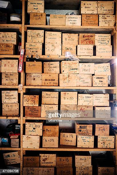 Drawers containing nails and screws, carpenter's supplies. Wheelwright's workshop