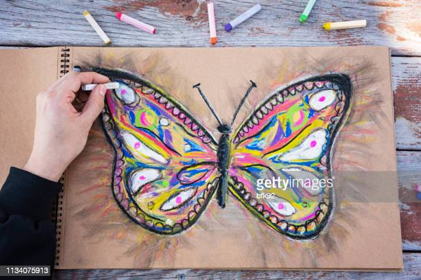 drawing a butterfly - pastel stock pictures, royalty-free photos & images