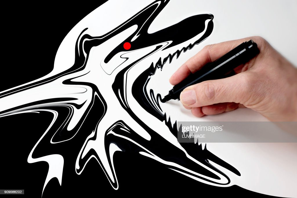 Drawing A Wolf. : Stock Photo