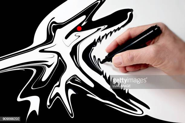 drawing a wolf. - vignette stock photos and pictures