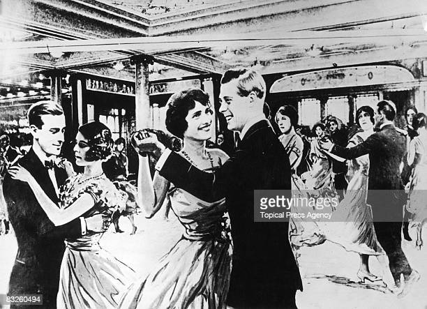 A drawing based on a radio description of Edward Windsor Prince of Wales dancing on board the liner Berengaria on his way to the US for a Royal Visit...