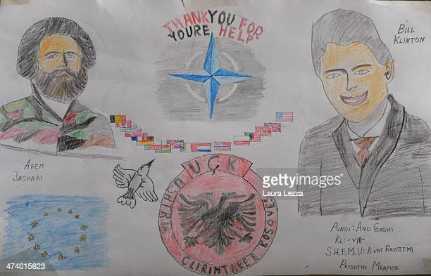A drawing by a young student depicting US Former President Bill Clinton and Adem Jashari is seen in a Kosovo Albanian school during a LMT activity...