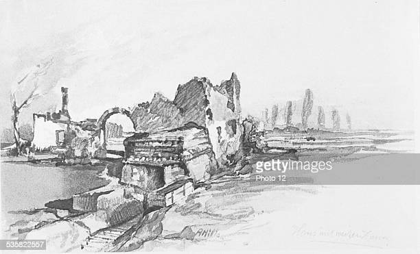 Drawing by Adolf Hitler Ruins of a house in the Flanders