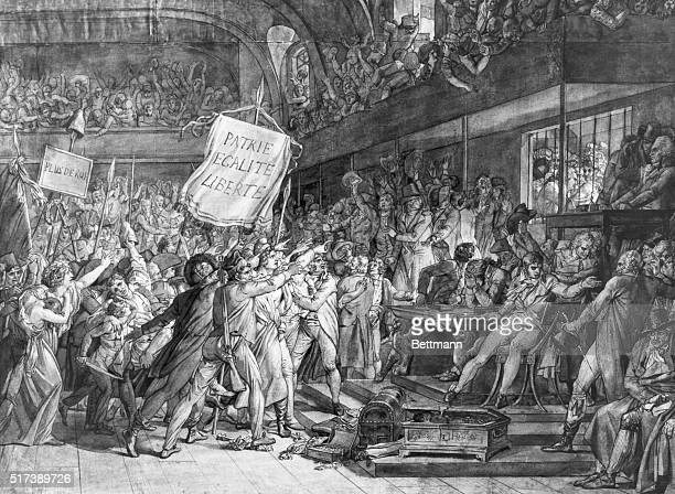 Drawing by Baron F Gerard of King Louis XVI held captive by the General Assembly August 10th during the French Revolution A huge violent crowd...