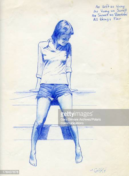 Drawing by convicted felon and later executed murderer Gary Gilmore of his girlfriend Nicole Baker 1977 The text at upper right reads 'As soft as...