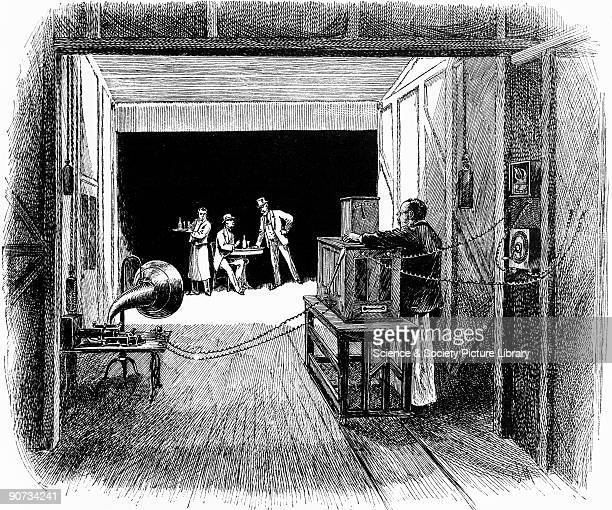 Drawing by E J Meeker of Edison's 'Black Maria' studios This illustration from Century magazine is captioned 'Interior of the Kinetographic Theater...