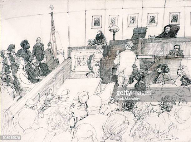Drawing by Franklin McHahon depicts poet Allen Ginsberg testifying at the Chicago Seven trial in 1969.   Located in: Private Collection.