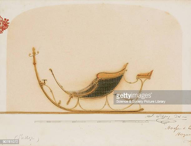 Drawing by J Gilfoy of a design for a horse-drawn sleigh produced by the coachbuilders Hooper & Co. The firm was established in 1807 in Haymarket,...