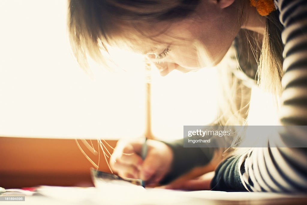 Drawing by the window : Stock Photo