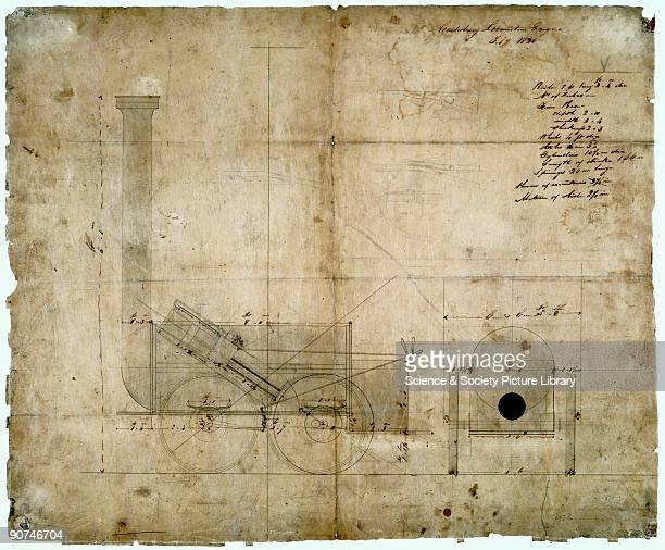 Drawing dated July 1830 of a steam 'locomotion engine' designed by Robert Stephenson possibly for the Canterbury and Whitstable Railway The...