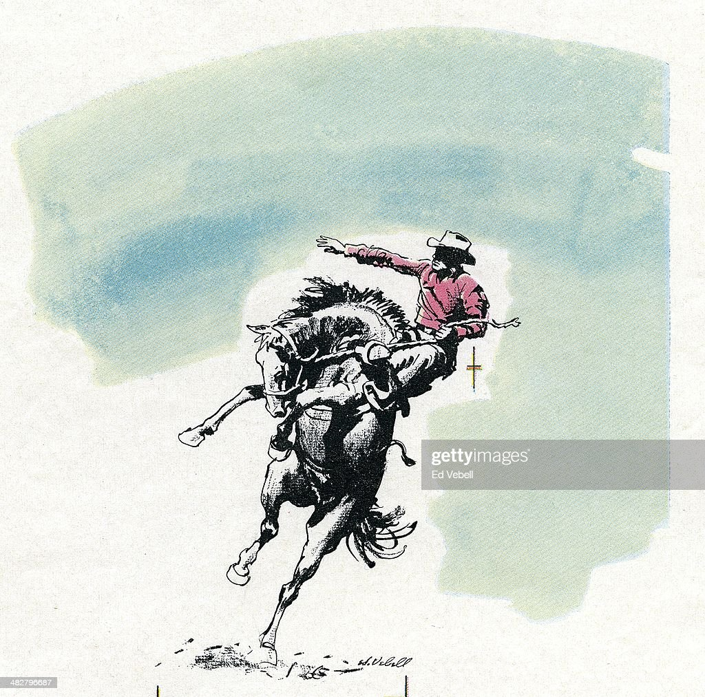 A drawing depicting a rodeo cowboy riding a bucking bronco circa 1960.