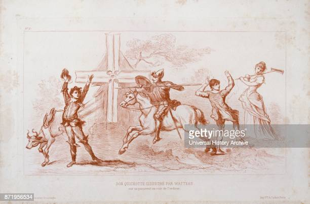 Drawing depicting Don Quixote' the Spanish literary hero Circa 1710 by JeanAntoine Watteau French painter