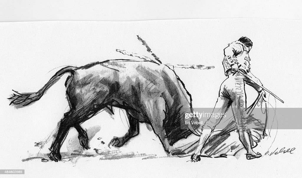 A drawing depicting Matador (bullfighter) and bull durin a Bullfight circa 1950 in Spain.
