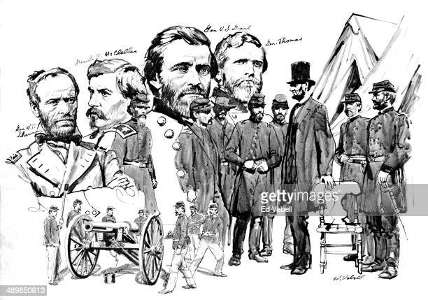 A drawing depicting President Lincoln's Generals General William Sherman General George McClellan General Ulysses Grant and General George Thomas...