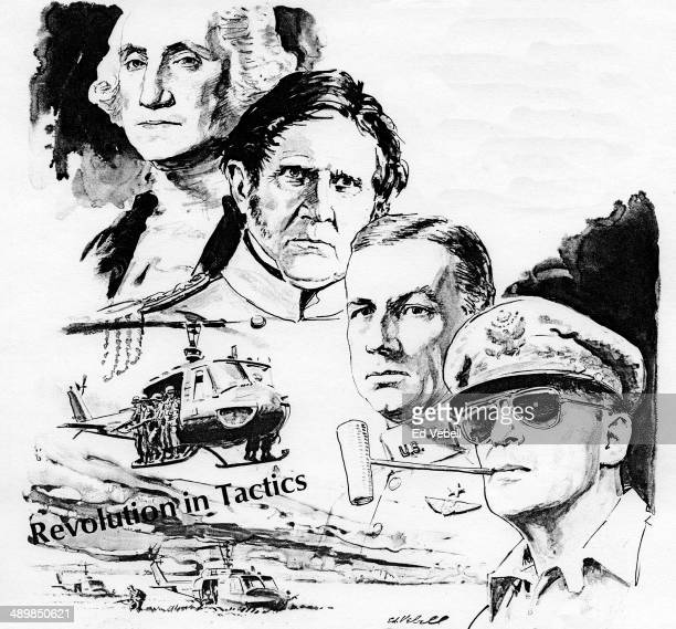 A drawing depicting the famous American Generals General George Washington Genral Winfield Scott General Billy Mitchell and General Douglas MacArthur...