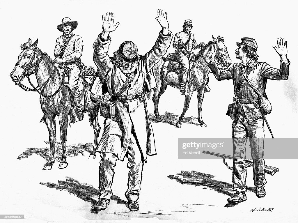 a drawing depicting the surrender of union army soldiers to news American Army union troops surrender news photo