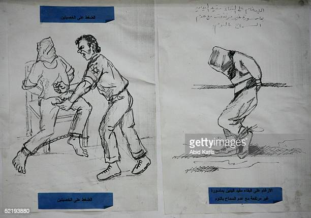 Drawing depicting torture by Israelis of Palestinian prisoners, made by the prisoners in the prisoners' works museum, on display at The Prisoners...