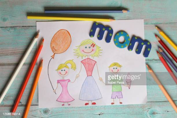 drawing for mom - mothers day card ストックフォトと画像