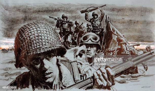A drawing for the US Army 'Stars and Stripes' newspaper depicting American troops in the predawn attack on Omaha Beach during the DDay landings on...