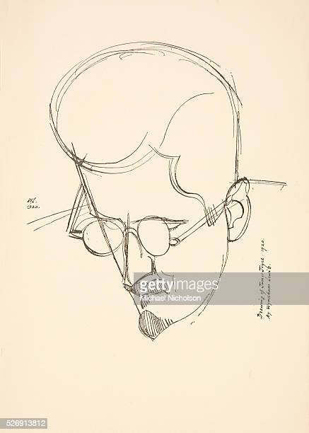 A drawing from 1920 of James Joyce by Wyndham Lewis