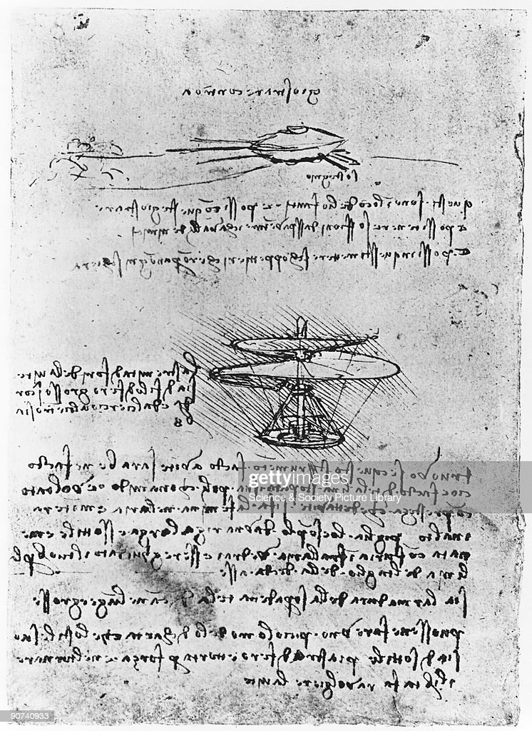 Design for a helicopter and tank, c 1490s. : News Photo