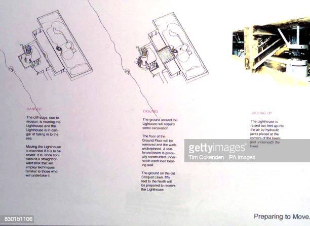 A drawing giving descriptions of how Belle Tout Lighthouse at Beachy Head in East Sussex is due to be moved away from a crumbling cliff edge The...