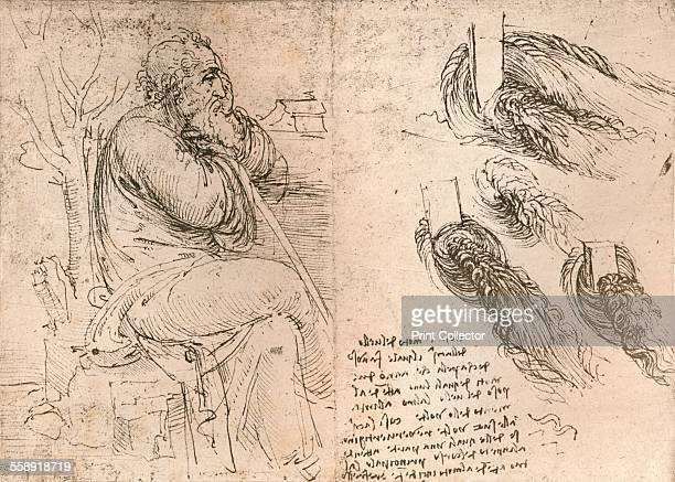 Drawing illustrating the representation of hair falling down in curls c1472c1519 From The Literary Works of Leonardo Da Vinci Vol 1 by Jean Paul...
