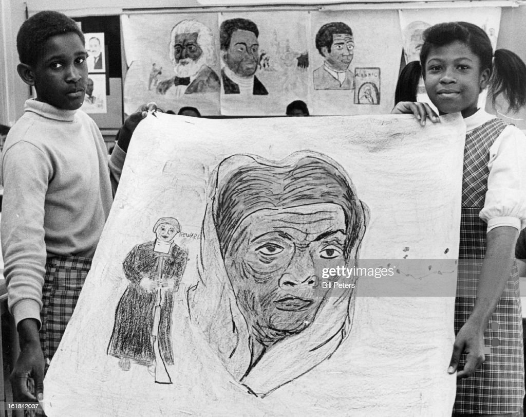 APR 16 1969, APR 26 1969, APR 30 1969; Drawing Is Of Harriet Tubman, Conductor On The Underground Railroad; Students are Stanley Crews, 3210 Kearney St., and Lisa Johnson, 3615 Locust St. Harriet Tubman conducted some 300 salves to freedom in the north in 1850s.;