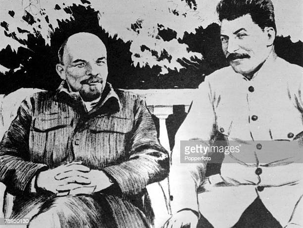 Drawing made in 1922 of Russian leaders Vladimir Ilyich Lenin and Joseph Stalin , Lenin was the first Premier of Russia, and Stalin ruled from 1922...