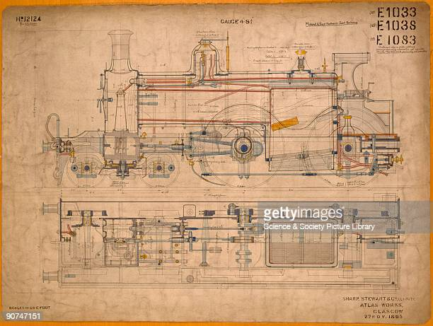 Drawing of 440 locomotive Drawing of 440 locomotive General arrangement drawing of a locomotive made by Sharp Stewart Co for the Midland and Great...