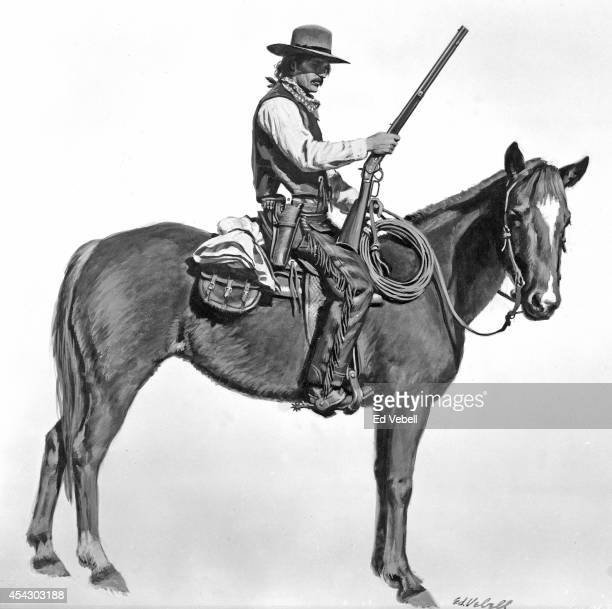 A drawing of a cowboy on a horse holding a rifle circa 1880