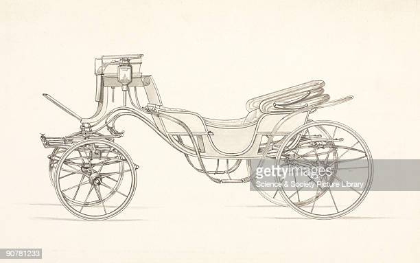 Drawing of a design for a horse-drawn carriage produced by the coachbuilders Hooper & Co. The firm was established in 1807 in Haymarket, London, were...