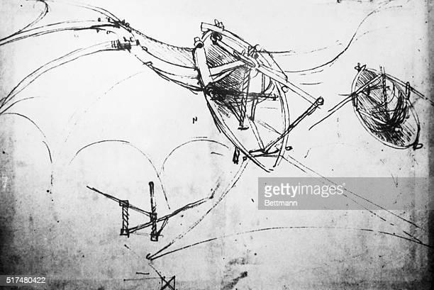 Drawing of a flying machine by Leonardo Da Vinci Undated photo