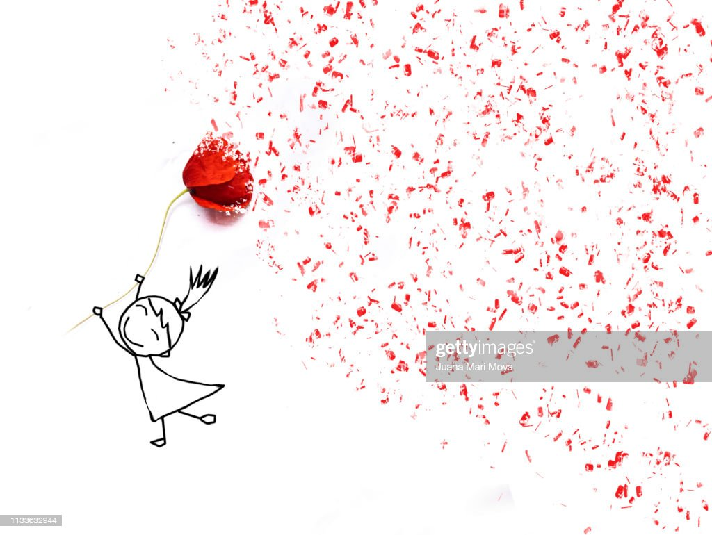 Drawing of a happy girl holding a poppy.  Announces the arrival of Spring : Stock Photo