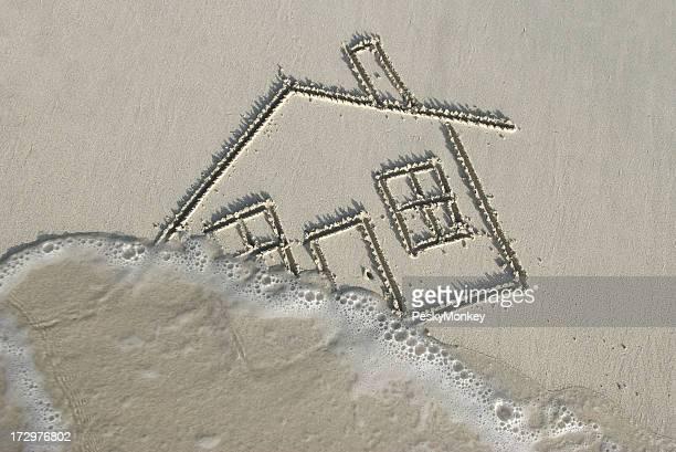 Dessin d'un chez-soi dans le sable emporté par Wave