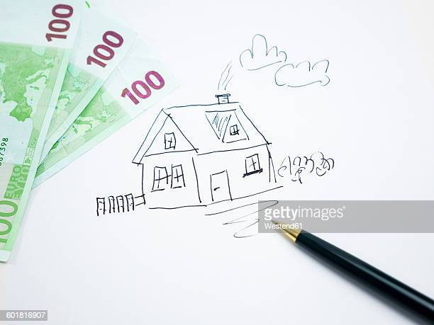 Drawing of a house with 100 Euro notes
