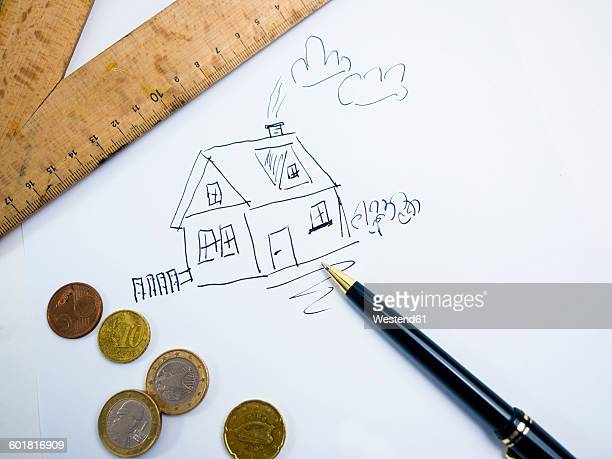 Drawing of a house with Euro coins