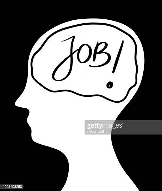 drawing of a human head with the a brain. a man thinking about work - human interest stock pictures, royalty-free photos & images